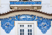 External View Of Historic Building Of Old Aveiro Railway Station Ornamented With Typical Blue Azulejos Tile Exterior, Which Tells A Story Of Life In Traditional Portugal. Aveiro, Portugal.