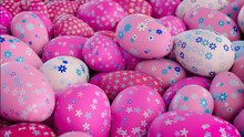 Multicolored, Easter Egg Background. Beautiful Pink, White And Blue Eggs With Floral Patterns. 3D Render