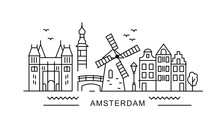 Amsterdam Minimal Style City Outline Skyline With Typographic. Vector Cityscape With Famous Landmarks. Illustration For Prints On Bags, Posters, Cards.