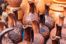 Traditional Georgian Clay Pottery For Sale In The Village Of Shrosha