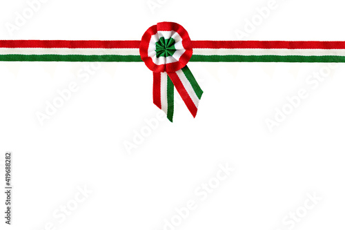Fotografie, Obraz isolated on white tricolor rosette and ribbon overlay symbol of the hungarian na