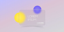 Glassmorphism Style. A Minimal Trendy Banner. Magenta And Yellow Spheres. UI Design Object.