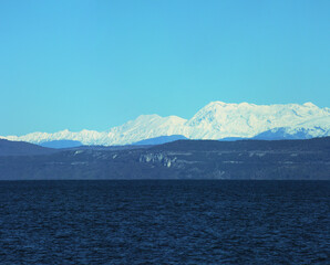 Beautiful view of the Apls moutains above the sea in the gulf of Trieste