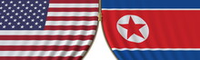 United States And North Korea Cooperation Or Conflict, Flags And Closing Or Opening Zipper Between Them. Conceptual 3D Rendering