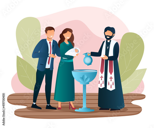 Tablou Canvas Male priest is baptising a newborn child