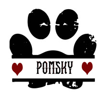 Pomsky Dog Pawprint With Red Hearts In A Grunge Design For Dog And Animal Lovers.  This Cute Hybrid Dog Breed Is A Cross Between Pomeranian And Siberian Husky.  Great For Pomsky Dog Parents, A Pomsky