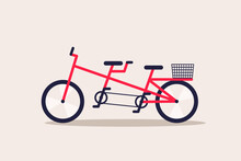 Red Tandem Bicycle With Basket.