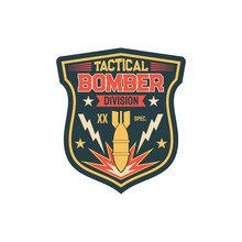 Aviation Bomber Jet Fighter, Bombing Aircraft, Patch On Non-commissioned Officers Uniform With Falling Bomb. Vector Label On Military Apparel, Patch On Officer Uniform, Army Insignia Bomber Division