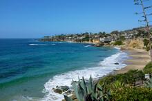 The Laguna Beach Shoreline On A Bright Blue Sky Day, Seen From Heisler Park.