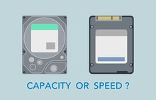 Hard Disk Drive And Solid State Drive Hardware Vector Illustration. Hdd Vs Ssd Comparing Between Hardware, Capacity Or Speed.