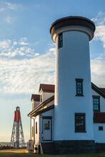 USA, Massachusetts, Nantucket Island. Nantucket Town, US Coast Guard Station Brant Point, Old Nantucket Lighthouse.
