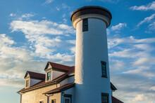 USA, Massachusetts, Nantucket Island. Nantucket Town, US Coast Guard Station Brant Point, Old Nantucket Lighthouse.