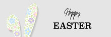 Easter Bunny With Flowers. Colourful Banner. Vector