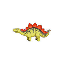 Stegosaurus Stenops, Ungulatus And Sulcatus, Ancient Lizard Isolated Icon. Vector Stegosaurus Cartoon Triceraptor Graze. Kentrosaurus Prehistoric Predator Animal. Herbivorous Thyreophoran Dinosaur