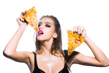 Sexy Woman Holding Tasty Big Slice Of Pizza. Girl Eat Pizza Isolared On White Background