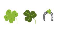 Trefoil And Quatrefoil Clover And Horseshoe Vector Flat Illustration. Shamrock. St. Patrick's Symbol. Good Luck Signs. Design Elements For Cards, Poster And Pattern.
