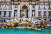 Italy, Rome, Trevi Fountain, Ornate, Baroque Style Fountain