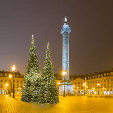 France, Ile-de-France, Paris, Christmas Trees At Illuminated Place Vendome During Night