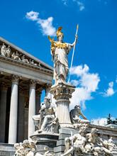 Austria, Vienna, Pallas Athene Fountain In Front Of Parliament Building