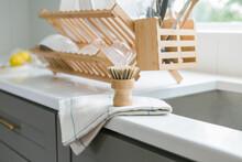 Eco Friendly Wooden Dish Brush In Kitchen