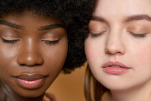 Multi-ethnic Female Model Friends With Eyes Closed
