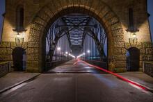 Germany, Hamburg, Light Trails Stretching Across Alte Harburger Elbbrucke Bridge At Night