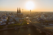 Germany, Cologne, Rhine River, View Of River And City At Sunset