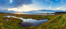 UK, Scotland, East Lothian, Aberlady Bay At Sunset
