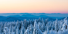Germany, Baden Wurttemberg, Black Forest Seen From Schliffkopf At Dawn In Winter