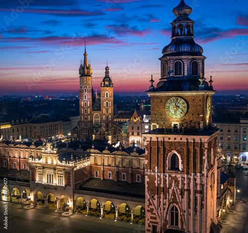 Main Square in Krakow during dawn, Poland
