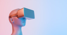3d Illustration Of Female Bust With VR Glasses And Red And Blue Lights