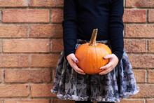 Stylish Little Girl With Pumpkin.