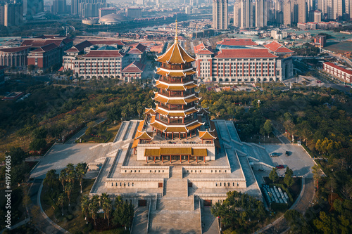 Aerial view of a retro style traditional Chinese pagoda tower, Jimei Tower in th Fotobehang