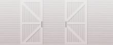 Gray Wooden Barn Door Front Side Background Horizontal Vector Illustration