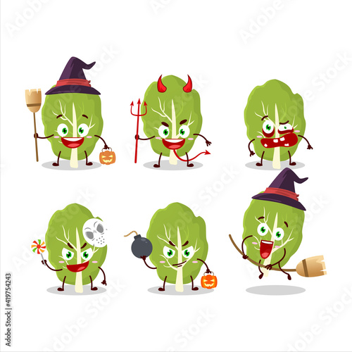 Fotografie, Tablou Halloween expression emoticons with cartoon character of collard greens
