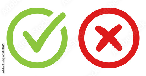 Valokuva Correct green sign check and Red Cancel cross vector icon