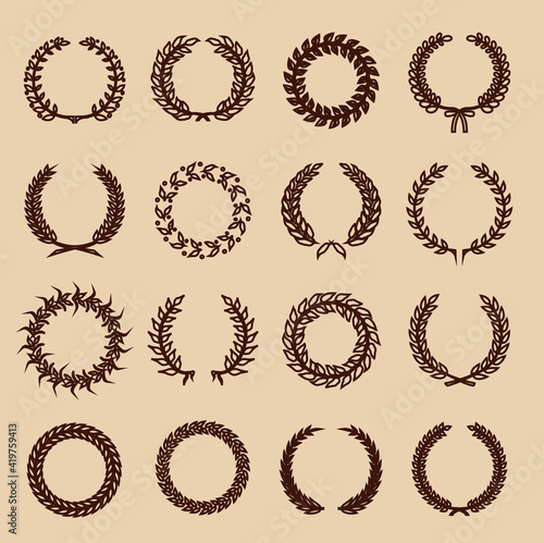 Canvas-taulu line circular vintage  for use as design elements in heraldry on an award certif