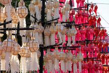 Lanna Paper Lantern Colorful In Wat Phra That Chae Haeng Nan Province, Thailand.