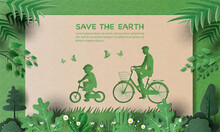 Dad And Son Enjoy Riding Bikes In Green City, Save The Planet And Energy Concept, Paper Illustration, And 3d Paper.