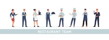 Restaurant Team Of Chefs Cooks And Waiters, Managers Flat Vector Illustration.