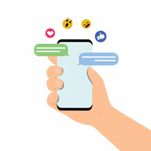 People Hand Holding Smartphone Or Device For Using Application, Chat, Send Message.