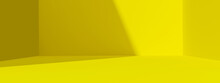 Yellow Abstract Wide Background And Vivid Light Backdrop Room With Empty Blank Gradient Wallpaper Design. 3D Rendering.