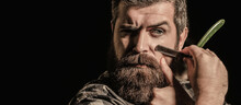 Straight Razor, Barbershop, Beard. Portrait Of Brutal Bearded Man. Vintage Straight Razor. Mens Haircut. Man In Barbershop