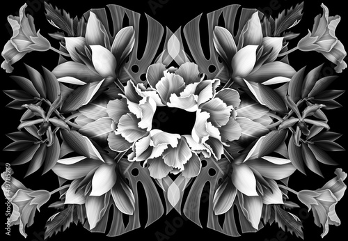 Fototapeta Tropical black and white jungle flowers and palm leaves