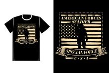 T-shirt Typography Special Force American Soldier Flag Vintage Style