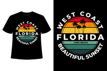 T-shirt Florida West Coast Beautiful Sunset Retro