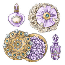 Hand Drawn Set Of Illustrations Of Vintage Jewelry Jar, Crystal Perfume Bottle, Powder Box, Puff For Illustration, Book, Postcard, Identity, Poster, Decoration In Marie Antoinette Style