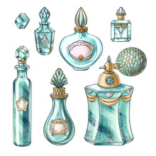 Hand Drawn Set Of Illustrations Of Vintage Jewelry Jar, Crystal Perfume Bottles, Spray, Bead For Illustration, Book, Postcard, Identity, Poster, Decoration In Marie Antoinette Style