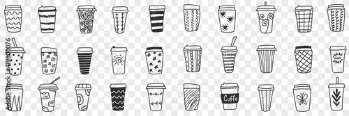 Reusable eco friendly glasses doodle set Fototapet