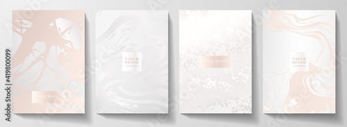Modern pearl cover design set. Creative fashionable background with light abstract marble pattern. Elegant trendy vector collection for catalog, brochure template, magazine layout, beauty booklet - fototapety na wymiar